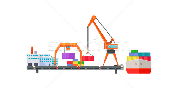 Escalator Delivers Cargo on Ship. Logistics Stock photo © robuart