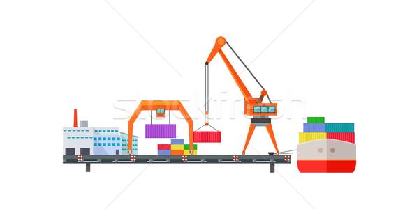 Roltrap vrachtschip logistiek container scheepvaart distributie Stockfoto © robuart
