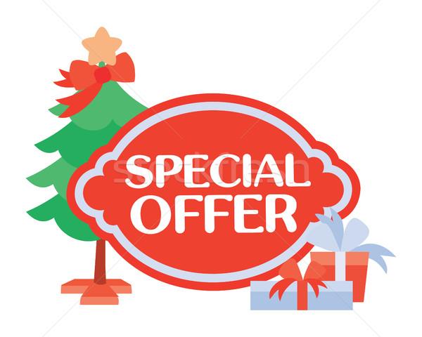 Oferta specjalna naklejki christmas sprzedaży jasne czerwony Zdjęcia stock © robuart