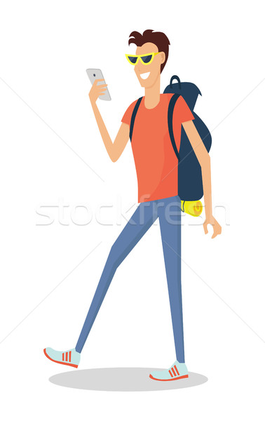 Hiker Traveler Flat Design Vector Illustration Stock photo © robuart