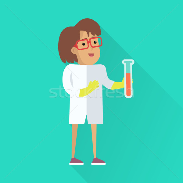 Scientist at Work Vector Flat Style Illustration Stock photo © robuart