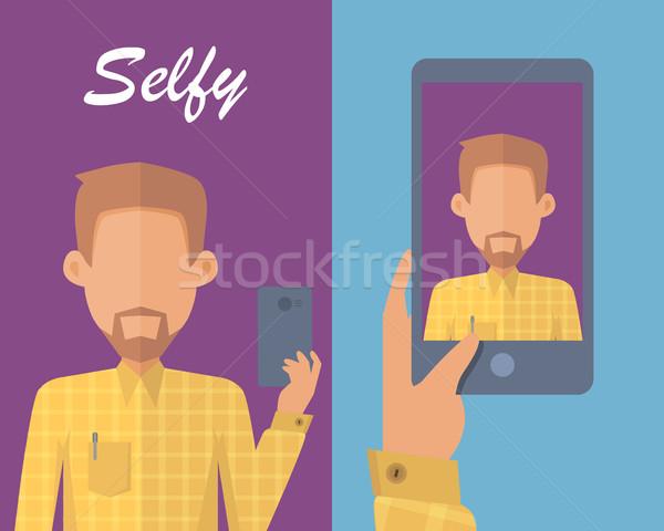 Hombre barba joven amarillo camisa Foto stock © robuart