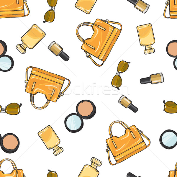 Set of Accessories. Purse. Nail Polish. Powder Stock photo © robuart