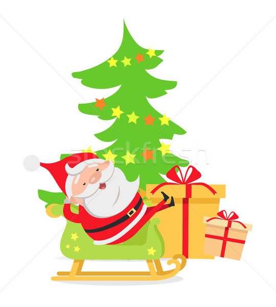 Santa Claus In Sleigh Near Decorated X Mas Tree Vector Illustration