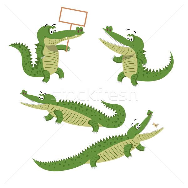 Cartoon Crocodiles Isolated Illustrations Set Stock photo © robuart