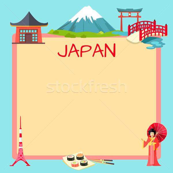 Turisztikai vektor minta szöveg szalag szimbólumok Stock fotó © robuart