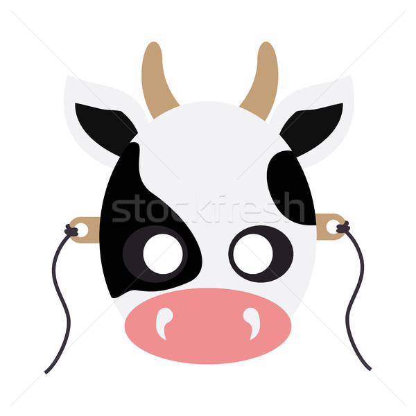 Cow Animal Carnival Mask. White Black Dotted Beef Stock photo © robuart