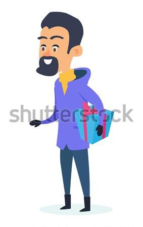 Aislado sonriendo hombre presente cuadro blanco Foto stock © robuart