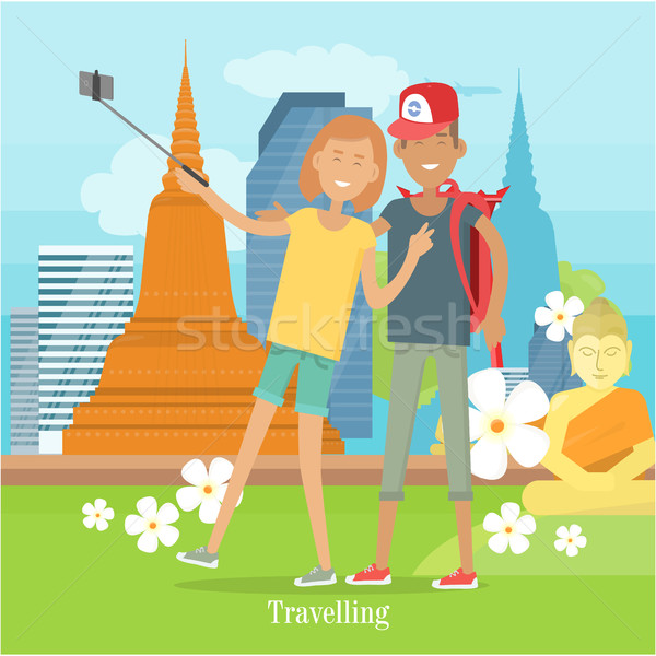 Couple Makes Selfie in Tropical Country. Vector Stock photo © robuart