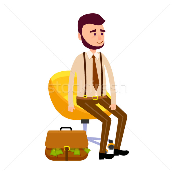 Young Hipster Sitting on Yellow Chair Money Bag Stock photo © robuart