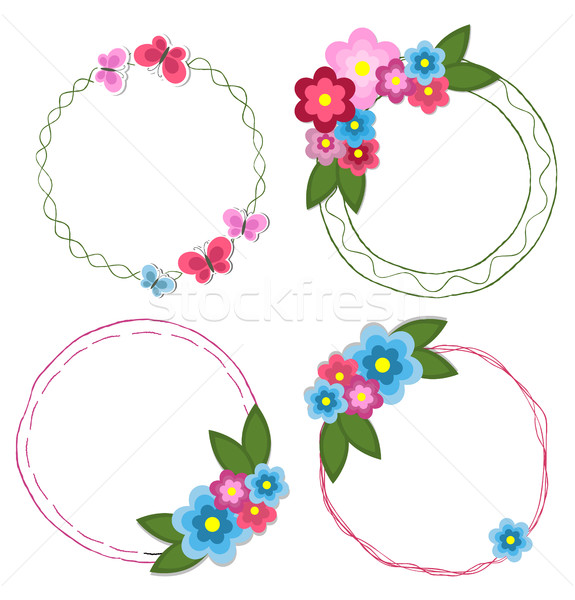 Set of Round Doodle Hand Drawn Frames with Flowers Stock photo © robuart