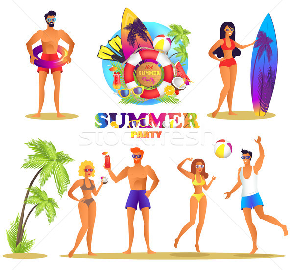 Summer Party Bright Isolated Illustrations Set Stock photo © robuart