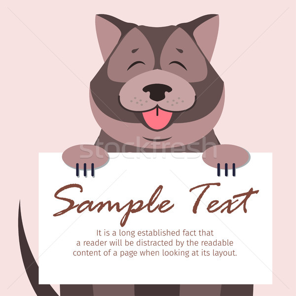 Chow-Chow with Signboard Isolated Illustration Stock photo © robuart