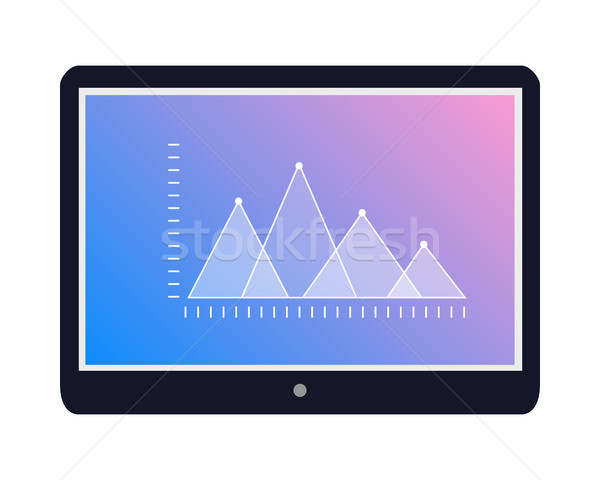 Tablet Icon with Graphic on Screen Flat Vector  Stock photo © robuart