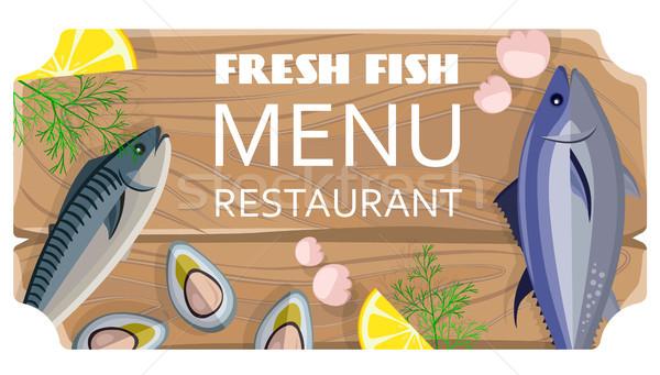 Fresh Fish Menu Restaurant with Sea Products Stock photo © robuart