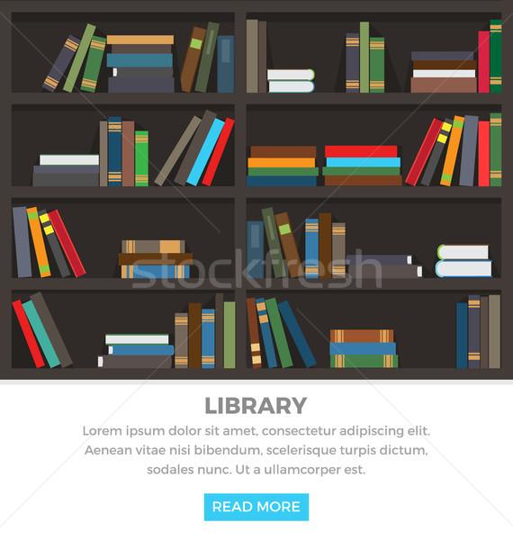 Könyvtár polcok áll könyvek barna szöveg Stock fotó © robuart