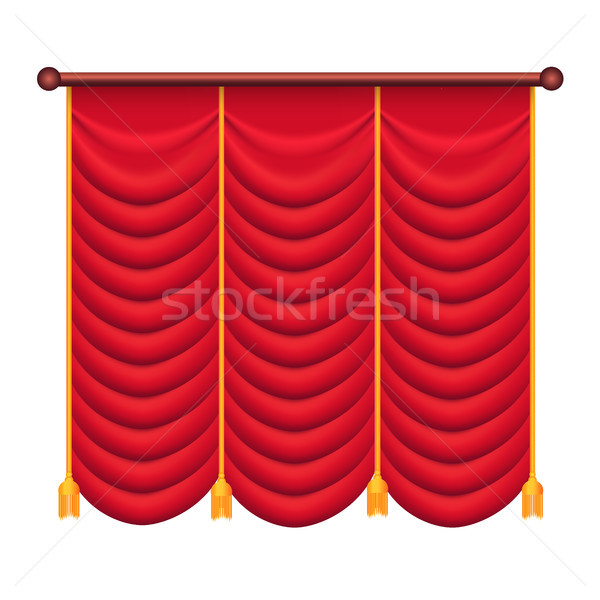 Classic Heavy Red Drape with Gold Tie Back Vector Stock photo © robuart