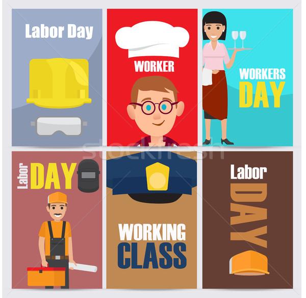 International Labor Day Themed Illustrations Set Stock photo © robuart