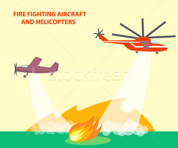 Aircraft and Helicopters Poster with Text Stock photo © robuart
