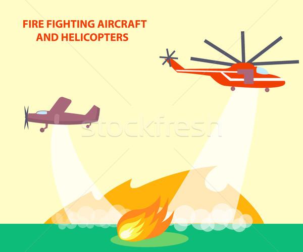 航空機 ポスター 文字 火災 赤 ストックフォト © robuart
