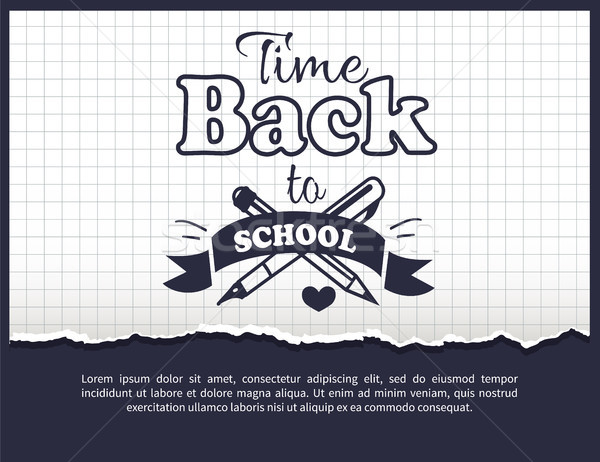 Back to School Time Sticker with Text on White Stock photo © robuart