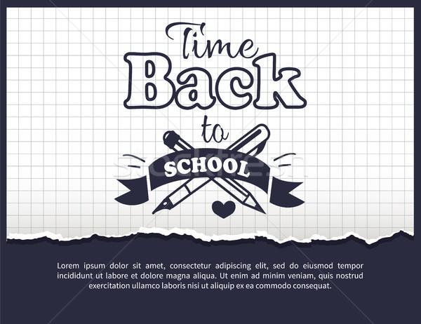Terug naar school tijd sticker tekst witte opschrift Stockfoto © robuart