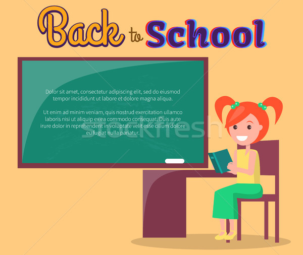 Back to School Poster with Redhead Girl Profile Stock photo © robuart