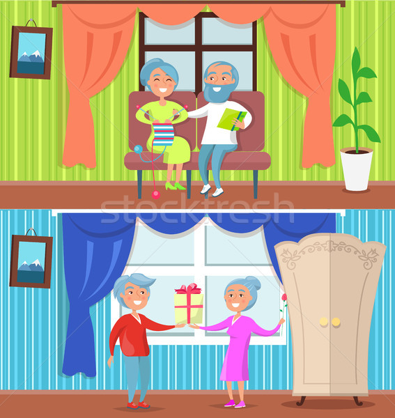 Happy Older People at Home Set of Illustrations Stock photo © robuart
