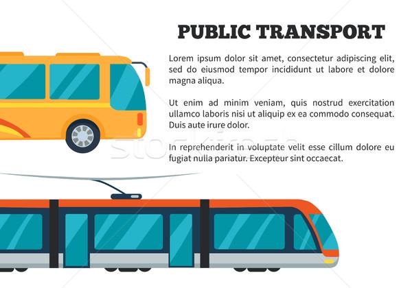 Foto stock: Transporte · público · cartaz · apresentação · amarelo · ônibus · elétrico