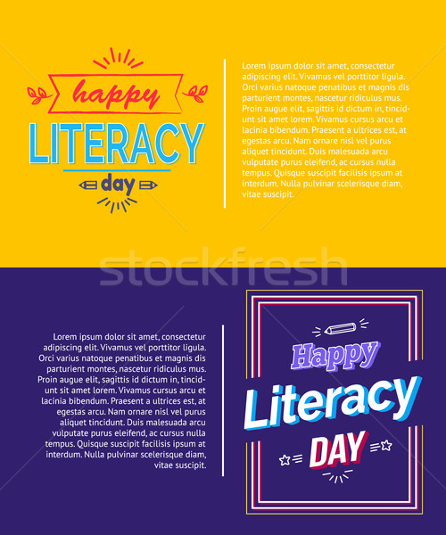 Happy Literacy Day Posters Set Vector Illustration Stock photo © robuart