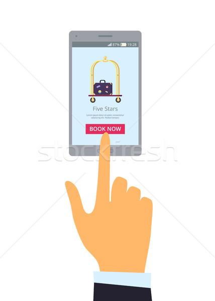 широкий серый мобильного телефона право стороны иллюстрация Сток-фото © robuart