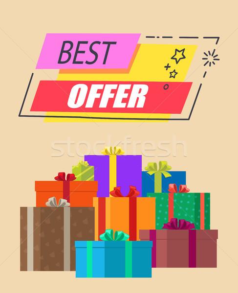 Mejor ofrecer rectangular etiqueta presenta anunciante Foto stock © robuart
