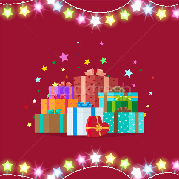 Garlands and Giftboxes on Vector Illustration Stock photo © robuart