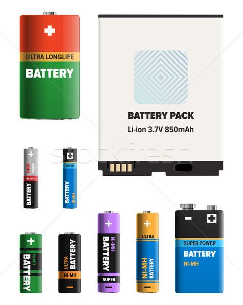 Erőteljes elemek különböző formák gyűjtemény elektronikus Stock fotó © robuart
