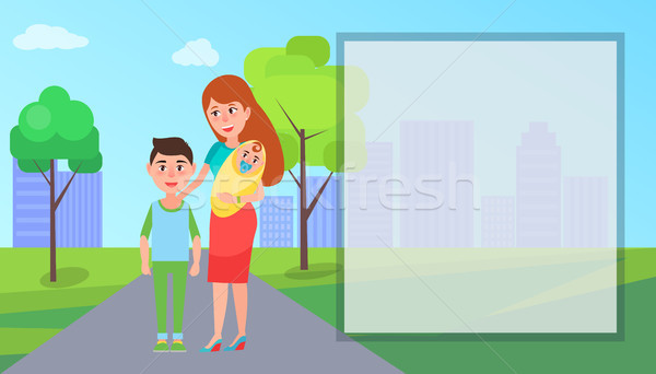 Mother and Her Kids on Road Vector Illustration Stock photo © robuart