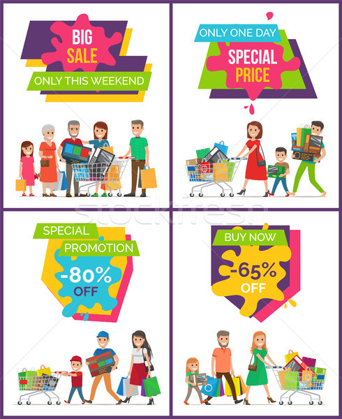 Big Sale Only This Weekend Set Vector Illustration Stock photo © robuart