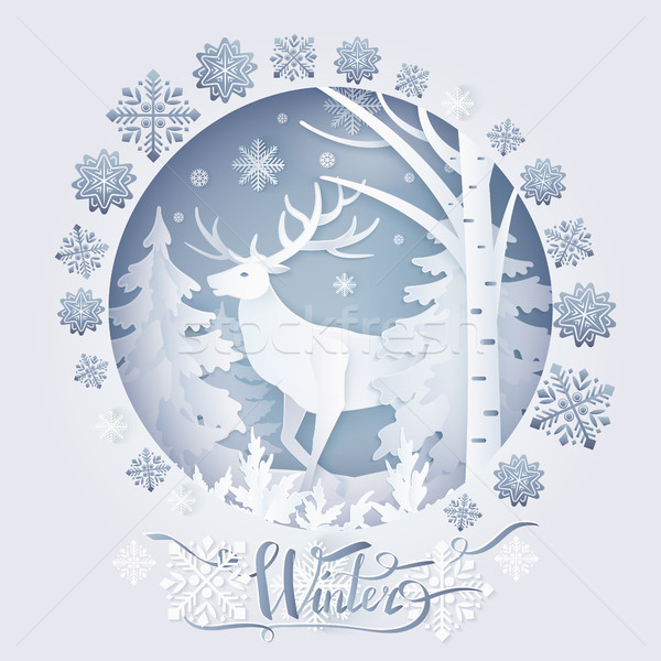 Winter Deer in Forest Poster Vector Illustration Stock photo © robuart