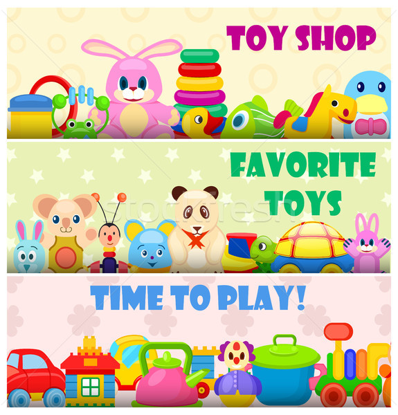 Czasu grać ulubiony zabawki kolorowy plakat Zdjęcia stock © robuart