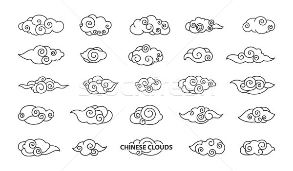 Chinese Clouds Collection Vector Illustration Stock photo © robuart