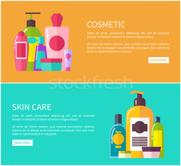 Skin Care Cosmetic Set, Color Vector Illustration Stock photo © robuart