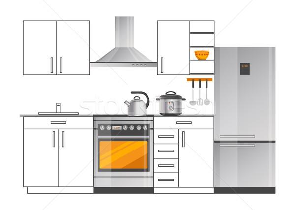 Modernes électriques appareils intérieur de cuisine design frigo Photo stock © robuart