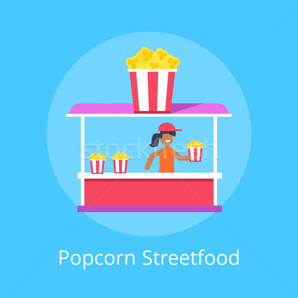 Popcorn Street Food Stall, Vector Illustration Stock photo © robuart