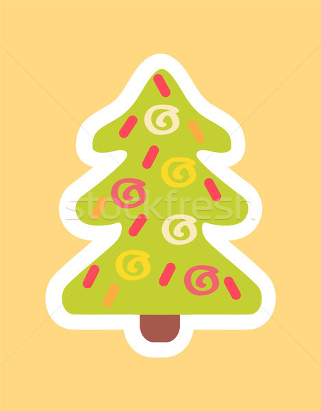 Stock photo: New Year Tree Decorated by Abstract Doodle Sticker