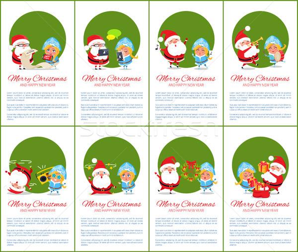 Stok fotoğraf: Neşeli · Noel · yeşil · ayarlamak · happy · new · year · posterler
