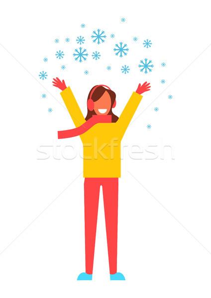 Woman Snowflakes Having Fun Vector Illustration Stock photo © robuart