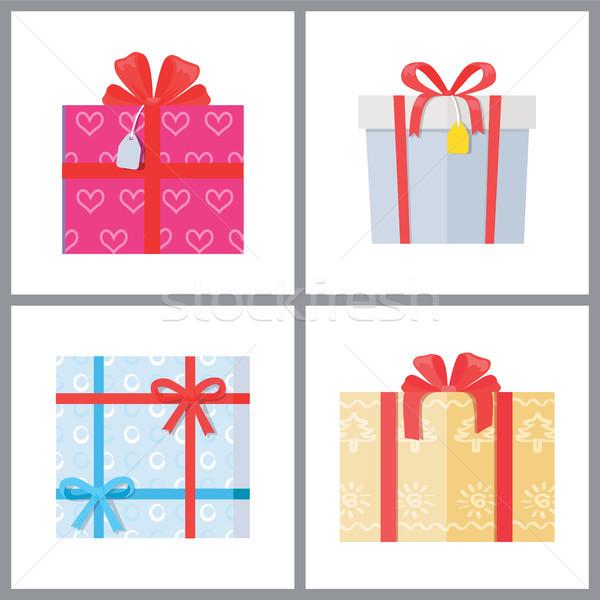 Set dekorativ Verpackung Vektor Farbe Stock foto © robuart