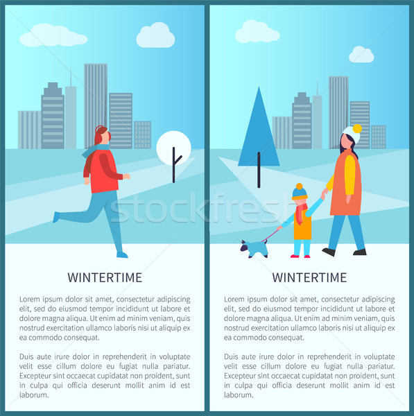 Wintertime Outdoor Activities Vector Illustration Stock photo © robuart