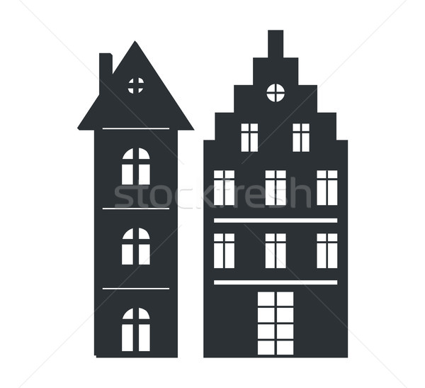 Set Multi Storey Houses Black Silhouettes Isolated Stock photo © robuart