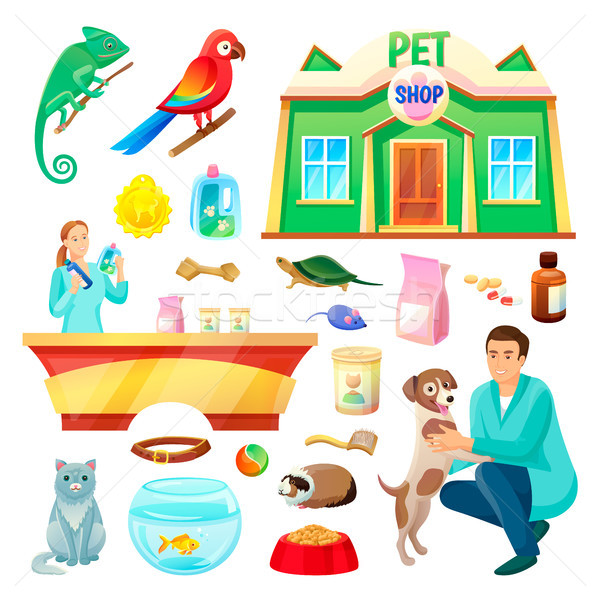 Pet Shop Illustrations with Animals and Products Stock photo © robuart