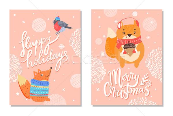Heureux vacances carte de vœux écureuils gland joyeux Photo stock © robuart